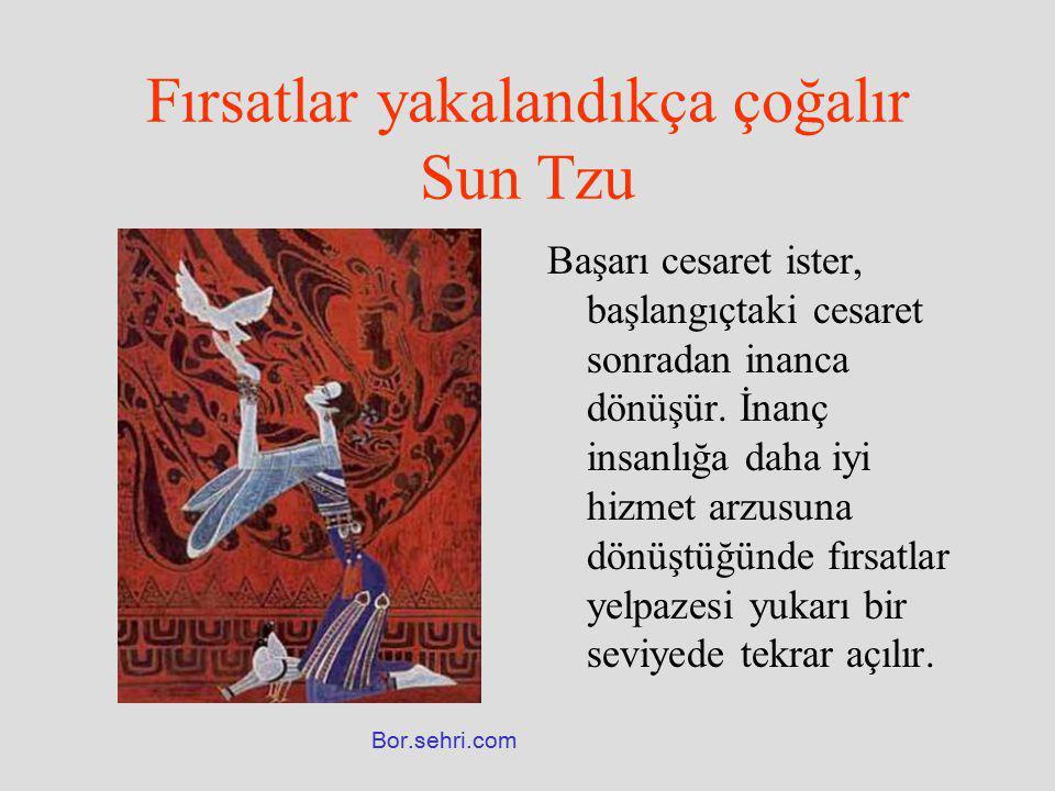 Fırsatlar yakalandıkça çoğalır Sun Tzu Başarı cesaret ister, başlangıçtaki cesaret sonradan inanca dönüşür. İnanç insanlığa daha iyi hizmet arzusuna d