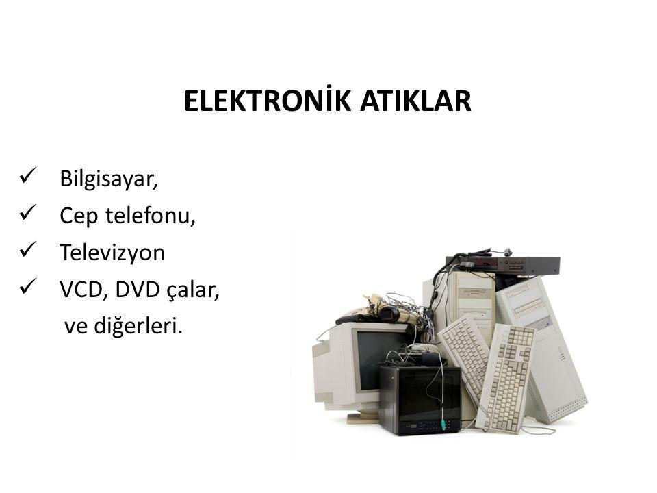 ELEKTRONİK ATIKLAR Bilgisayar, Cep telefonu, Televizyon VCD, DVD çalar, ve diğerleri.