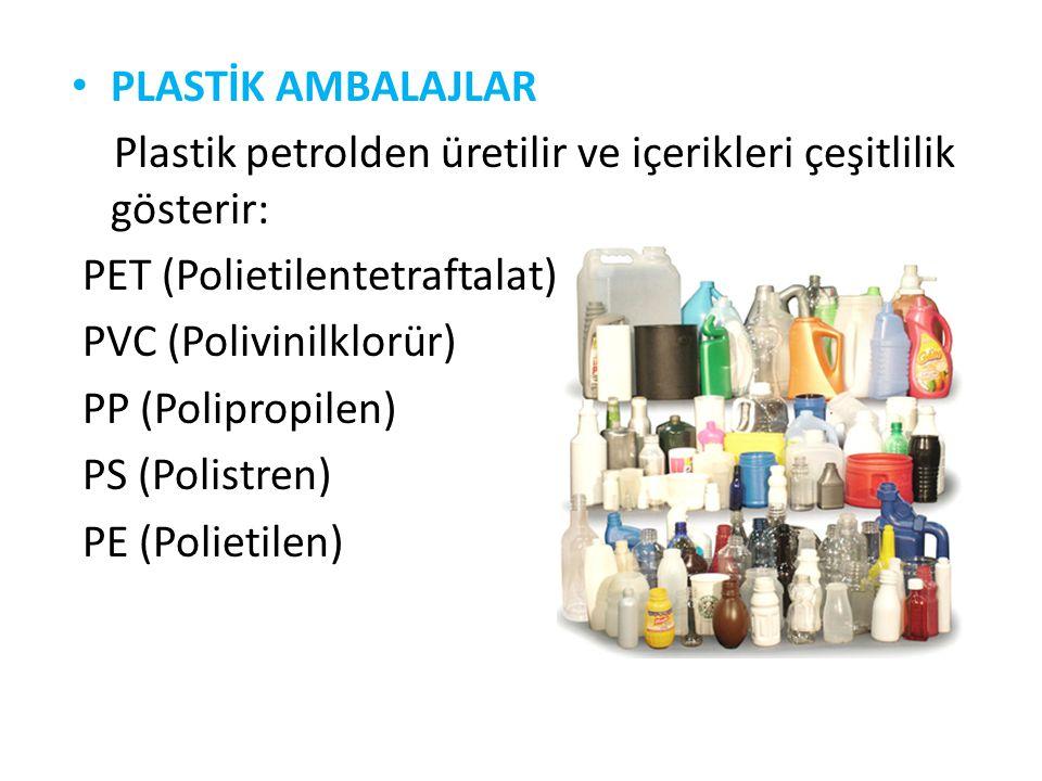 PLASTİK AMBALAJLAR Plastik petrolden üretilir ve içerikleri çeşitlilik gösterir: PET (Polietilentetraftalat) PVC (Polivinilklorür) PP (Polipropilen) P