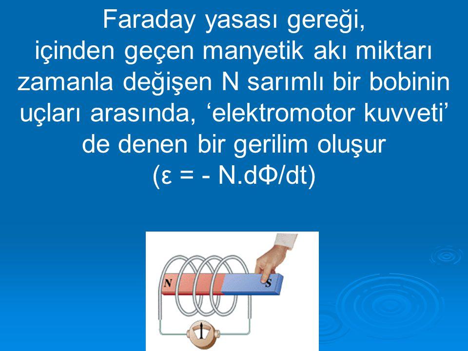 Faraday yasası gereği, içinden geçen manyetik akı miktarı zamanla değişen N sarımlı bir bobinin uçları arasında, 'elektromotor kuvveti' de denen bir g