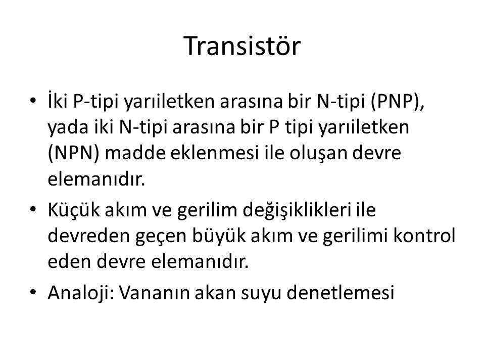 Transistör İki P-tipi yarıiletken arasına bir N-tipi (PNP), yada iki N-tipi arasına bir P tipi yarıiletken (NPN) madde eklenmesi ile oluşan devre elem