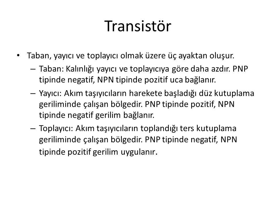 Transistör Taban, yayıcı ve toplayıcı olmak üzere üç ayaktan oluşur. – Taban: Kalınlığı yayıcı ve toplayıcıya göre daha azdır. PNP tipinde negatif, NP