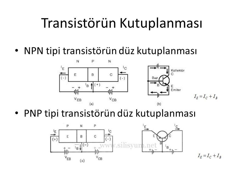 Transistörün Kutuplanması NPN tipi transistörün düz kutuplanması PNP tipi transistörün düz kutuplanması