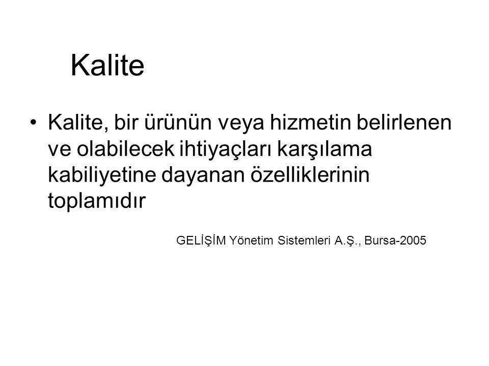 Kalite Kalite, bir ürünün veya hizmetin belirlenen ve olabilecek ihtiyaçları karşılama kabiliyetine dayanan özelliklerinin toplamıdır GELİŞİM Yönetim Sistemleri A.Ş., Bursa-2005
