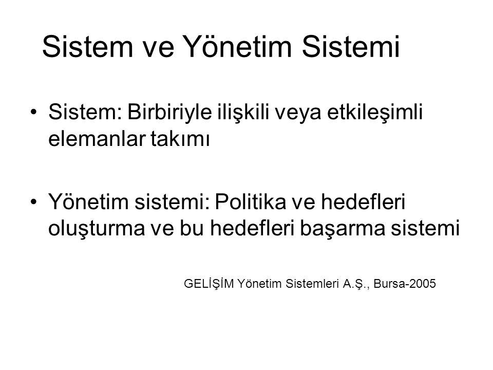 Sistem ve Yönetim Sistemi Sistem: Birbiriyle ilişkili veya etkileşimli elemanlar takımı Yönetim sistemi: Politika ve hedefleri oluşturma ve bu hedefleri başarma sistemi GELİŞİM Yönetim Sistemleri A.Ş., Bursa-2005