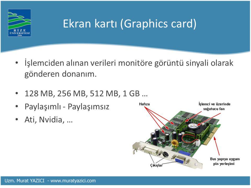 Ekran kartı (Graphics card) İşlemciden alınan verileri monitöre görüntü sinyali olarak gönderen donanım.