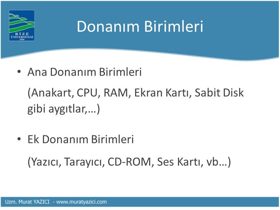 Donanım Birimleri Ana Donanım Birimleri (Anakart, CPU, RAM, Ekran Kartı, Sabit Disk gibi aygıtlar,…) Ek Donanım Birimleri (Yazıcı, Tarayıcı, CD-ROM, S