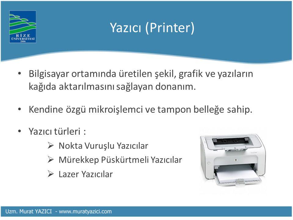 Yazıcı (Printer) Bilgisayar ortamında üretilen şekil, grafik ve yazıların kağıda aktarılmasını sağlayan donanım. Kendine özgü mikroişlemci ve tampon b