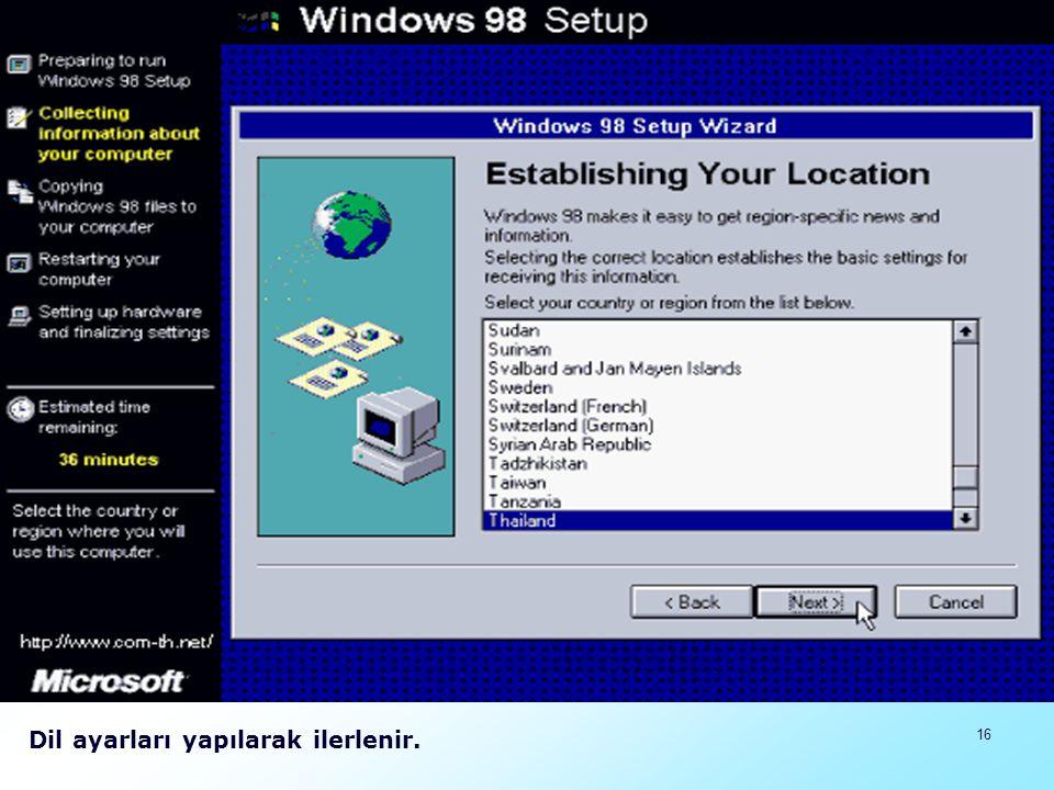 17 Açılan pencerede başlangıç disketi istenmektedir.En başta başlangıç disketiyle birleştirilmiş CD kullanıldığı için görünen pencereden ilerlenerek iptal denir ve ilerlenir.