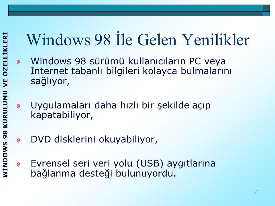 25 Microsoft Windows 98 SE (ki bu şekilde kısaltılarak kullanılmaya başlandı), Windows 98 in bir üst şekliydi.