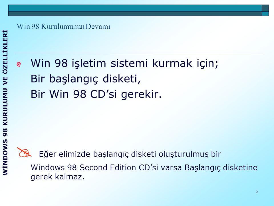 6 Win 98 Kurulumunun Devamı Win 98 CD'sini bilgisayara taktıktan sonra bilgisayarı yeniden başlatırız.