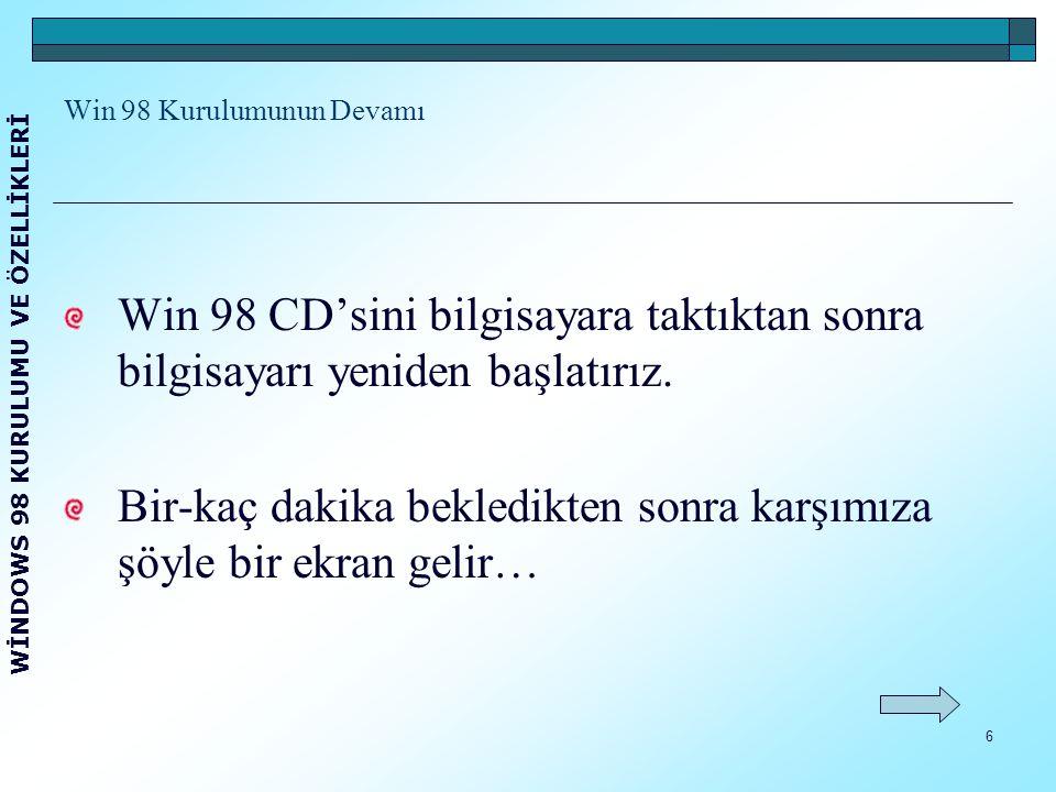 7 Bilgisayarı CD-ROM desteği ile başlatmak için 1. seçeneği seçeriz.