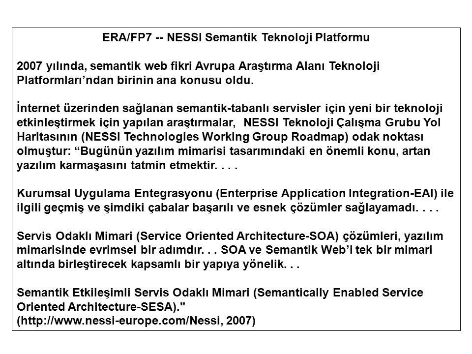 ERA/FP7 -- NESSI Semantik Teknoloji Platformu 2007 yılında, semantik web fikri Avrupa Araştırma Alanı Teknoloji Platformları'ndan birinin ana konusu o