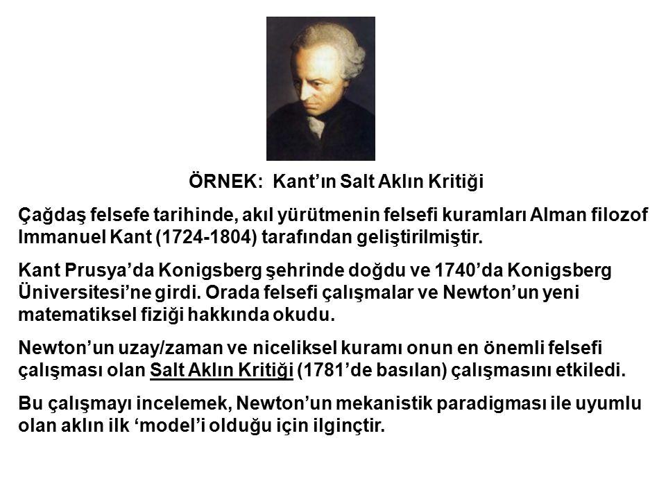 ÖRNEK: Kant'ın Salt Aklın Kritiği Çağdaş felsefe tarihinde, akıl yürütmenin felsefi kuramları Alman filozof Immanuel Kant (1724-1804) tarafından geliş