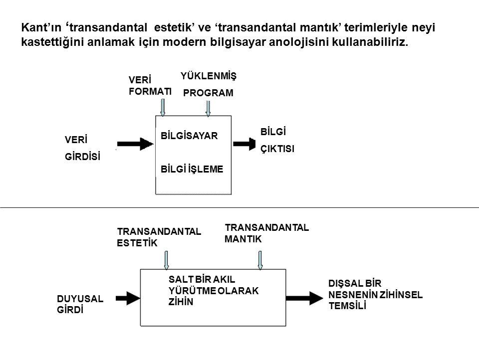 Kant'ın ' transandantal estetik' ve 'transandantal mantık' terimleriyle neyi kastettiğini anlamak için modern bilgisayar anolojisini kullanabiliriz. V