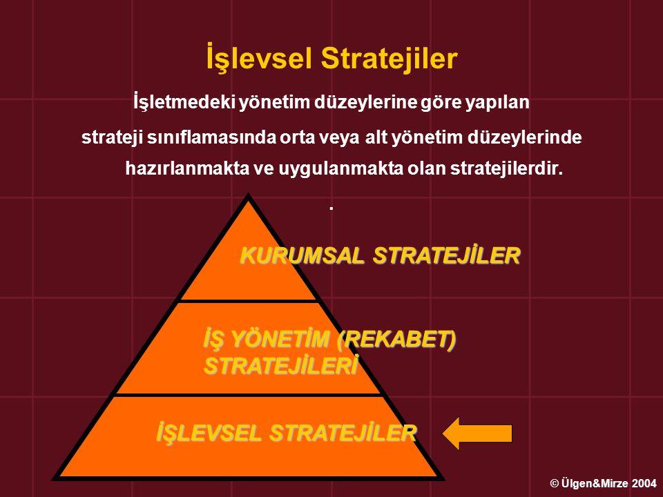 İşlevsel veya Bölümsel Stratejiler Üst yönetim/Kurumsal ve İş Yönetim/Rekabet stratejilerine uygun olarak, orta ve alt yönetim düzeylerinde hazırlanıp uygulanan teknik bilgi ve uzmanlık isteyen stratejilerdir.