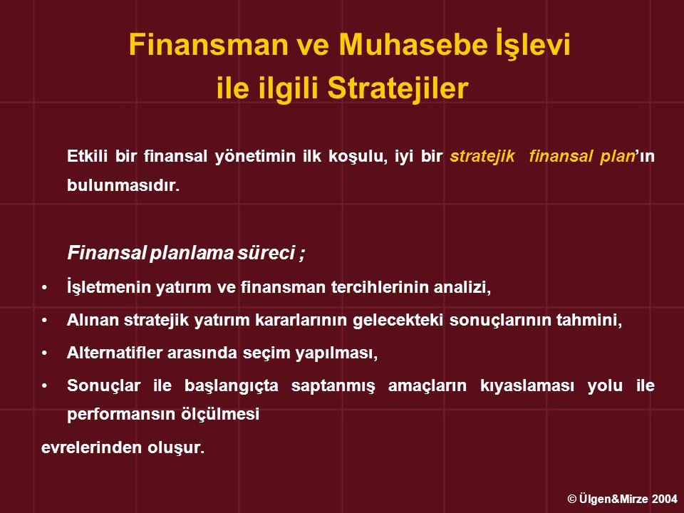 Finansman ve Muhasebe İşlevi ile ilgili Stratejiler Etkili bir finansal yönetimin ilk koşulu, iyi bir stratejik finansal plan'ın bulunmasıdır. Finansa