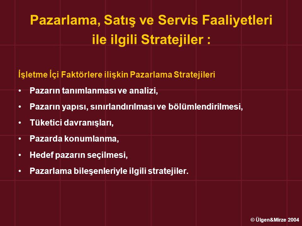 Pazarlama, Satış ve Servis Faaliyetleri ile ilgili Stratejiler : İşletme Dışı Rekabetçi Pazarlama Stratejileri İşletmenin pazardaki rekabetçi pazarlama stratejisi, o işletmenin pazar içinde bulunduğu konumuna bağlıdır ; –Piyasa Liderinin Rekabet Stratejisi –Meydan Okuyucu Rekabet Stratejisi –İzleyici Rekabet Stratejisi © Ülgen&Mirze 2004