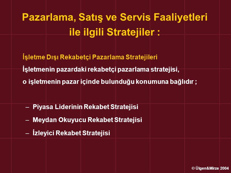Pazarlama, Satış ve Servis Faaliyetleri ile ilgili Stratejiler : İşletme Dışı Rekabetçi Pazarlama Stratejileri İşletmenin pazardaki rekabetçi pazarlam