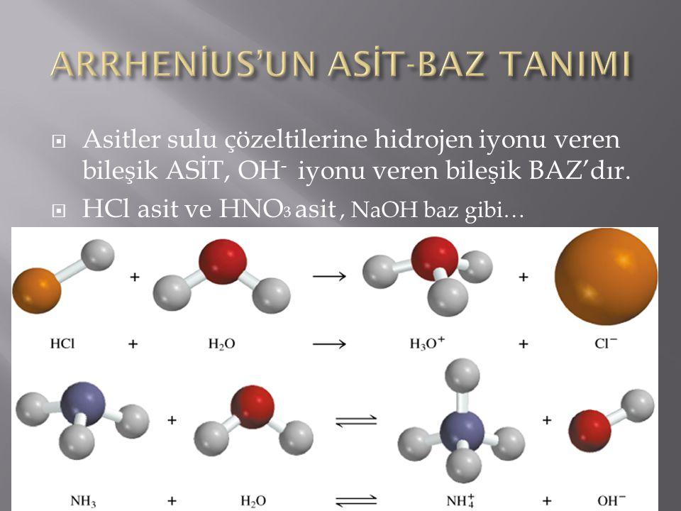  Asitler sulu çözeltilerine hidrojen iyonu veren bileşik ASİT, OH - iyonu veren bileşik BAZ'dır.  HCl asit ve HNO 3 asit, NaOH baz gibi…