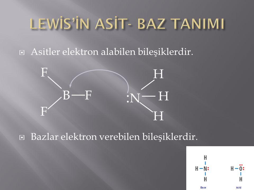  Asitler elektron alabilen bileşiklerdir.  Bazlar elektron verebilen bileşiklerdir. BF F F :N:N H H H
