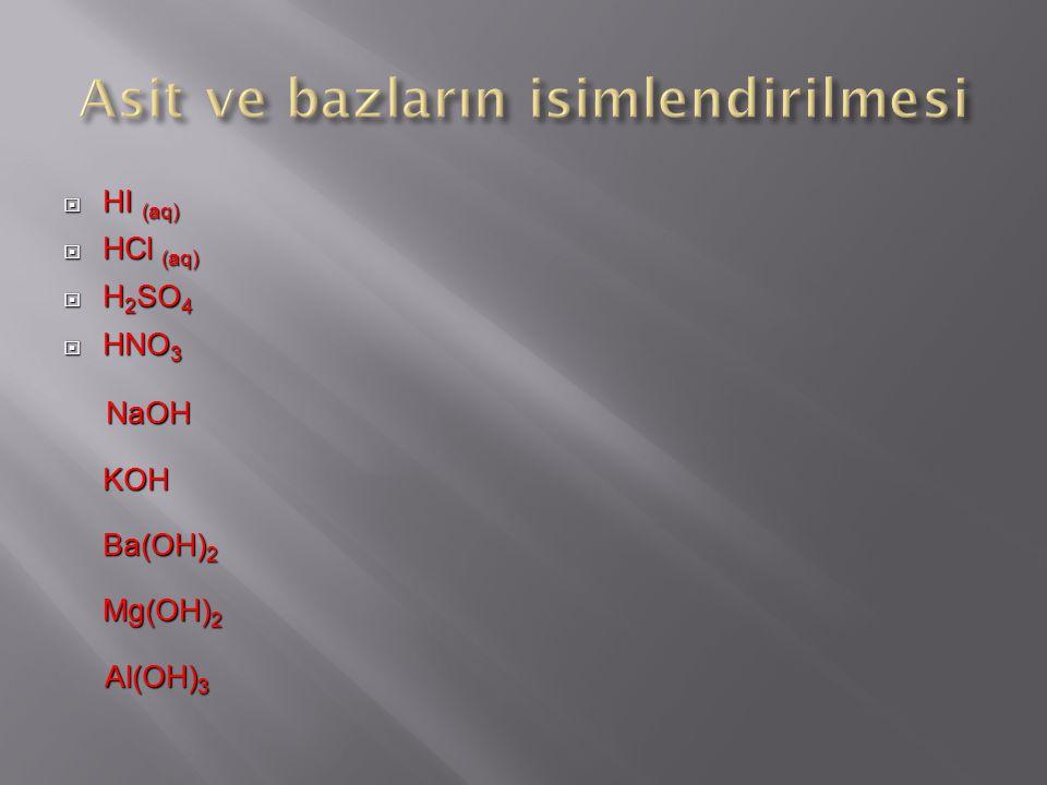  HI (aq)  HCl (aq)  H 2 SO 4  HNO 3 NaOH NaOHKOH Ba(OH) 2 Mg(OH) 2 Al(OH) 3 Al(OH) 3