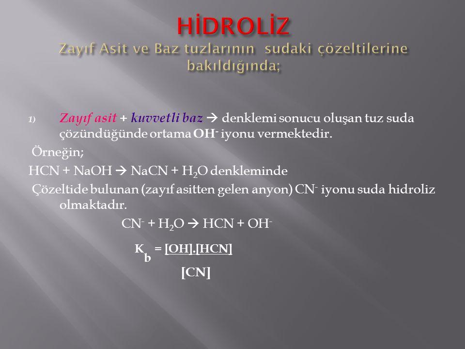 1) Zayıf asit + kuvvetli baz  denklemi sonucu oluşan tuz suda çözündüğünde ortama OH - iyonu vermektedir. Örneğin; HCN + NaOH  NaCN + H 2 O denklemi