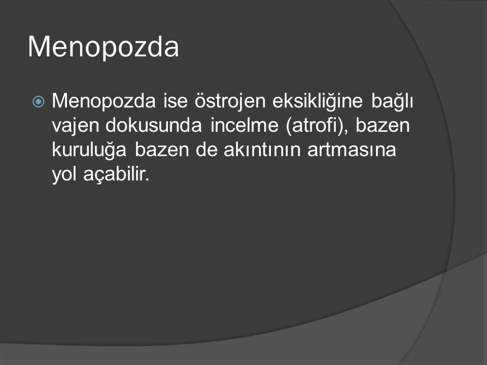 Kokulu akıntı (anaerob enfeksiyon) 2  Muayenede, gri, homojen, yapışkan bir akıntı mevcuttur.