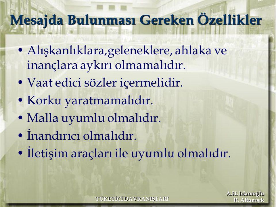 A.H. İslamoğlu R. Altunışık TÜKETİCİ DAVRANIŞLARI Mesajda Bulunması Gereken Özellikler Alışkanlıklara,geleneklere, ahlaka ve inançlara aykırı olmamalı
