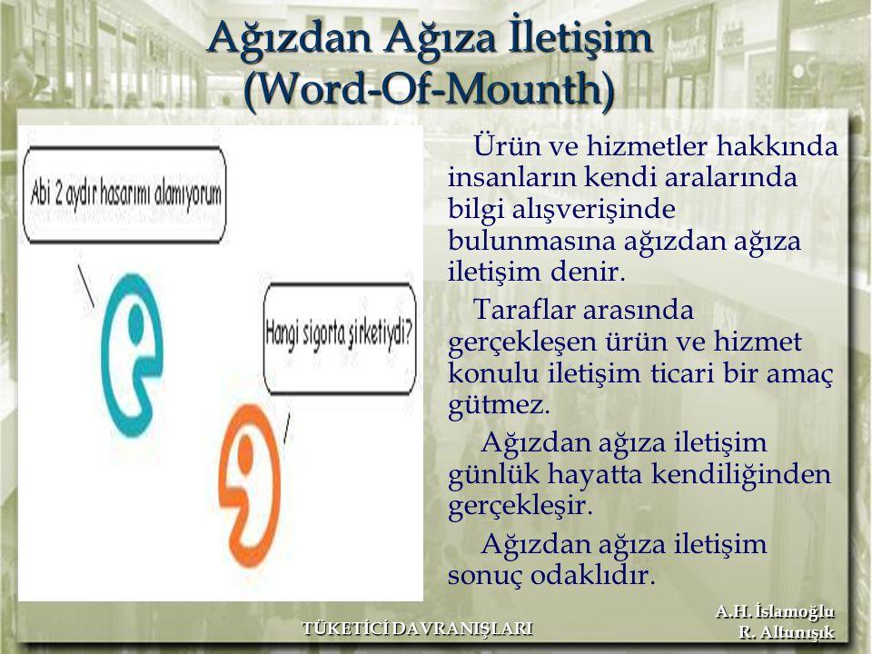 A.H. İslamoğlu R. Altunışık TÜKETİCİ DAVRANIŞLARI Ağızdan Ağıza İletişim (Word-Of-Mounth) Ürün ve hizmetler hakkında insanların kendi aralarında bilgi