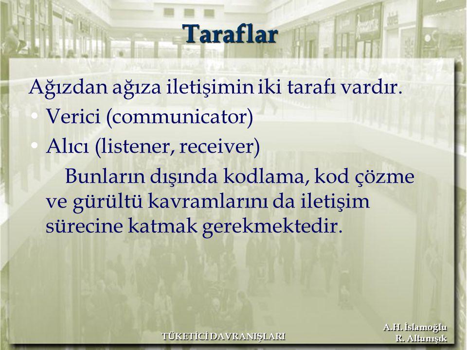 A.H. İslamoğlu R. Altunışık TÜKETİCİ DAVRANIŞLARI Ağızdan ağıza iletişimin iki tarafı vardır. Verici (communicator) Alıcı (listener, receiver) Bunları