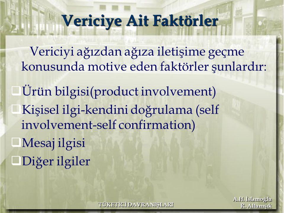 A.H. İslamoğlu R. Altunışık TÜKETİCİ DAVRANIŞLARI Vericiyi ağızdan ağıza iletişime geçme konusunda motive eden faktörler şunlardır:  Ürün bilgisi(pro