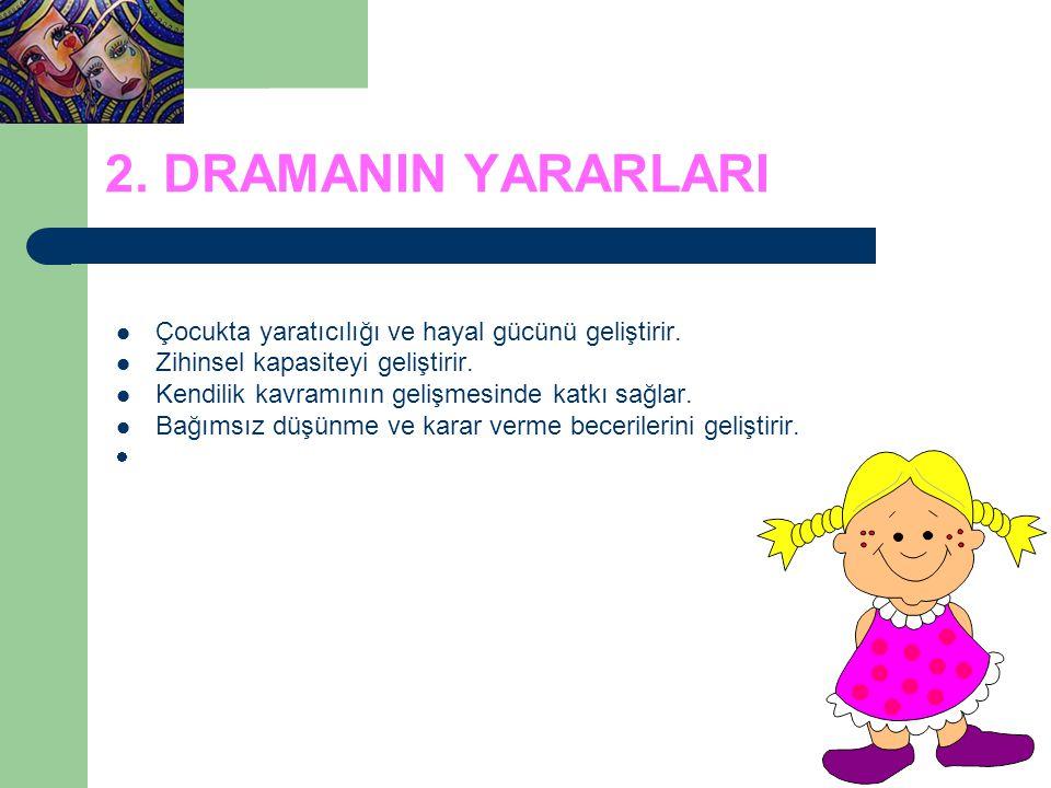 2.DRAMANIN YARARLARI Çocukta yaratıcılığı ve hayal gücünü geliştirir.