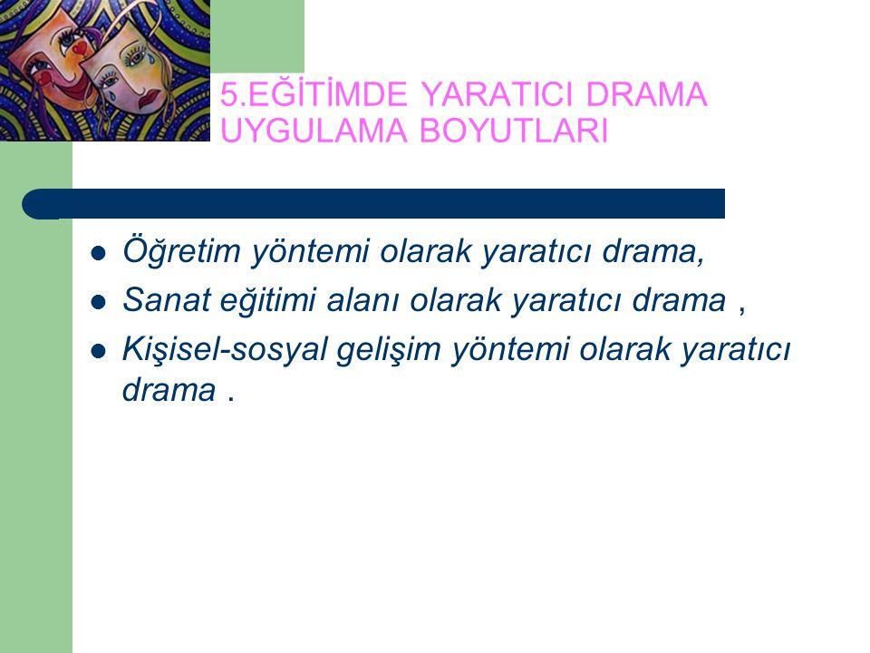 5.EĞİTİMDE YARATICI DRAMA UYGULAMA BOYUTLARI Öğretim yöntemi olarak yaratıcı drama, Sanat eğitimi alanı olarak yaratıcı drama, Kişisel-sosyal gelişim
