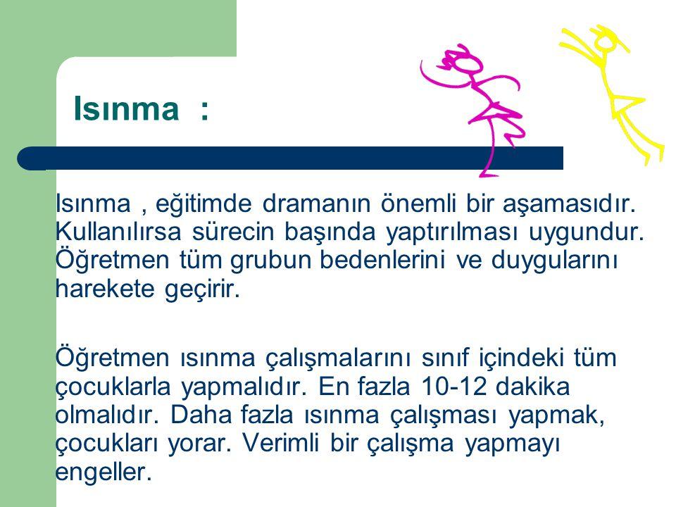 Isınma : Isınma, eğitimde dramanın önemli bir aşamasıdır.