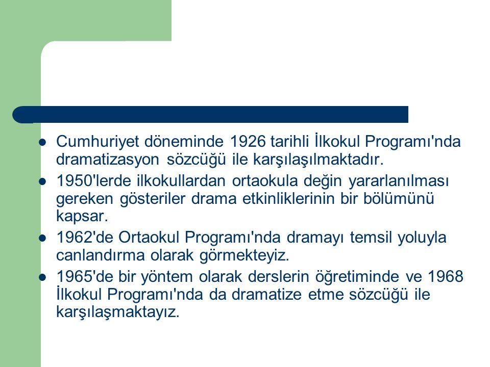 Cumhuriyet döneminde 1926 tarihli İlkokul Programı nda dramatizasyon sözcüğü ile karşılaşılmaktadır.