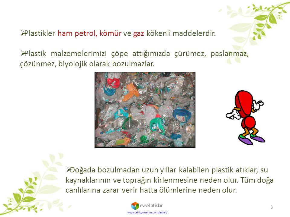  Plastikler ham petrol, kömür ve gaz kökenli maddelerdir.  Plastik malzemelerimizi çöpe attığımızda çürümez, paslanmaz, çözünmez, biyolojik olarak b