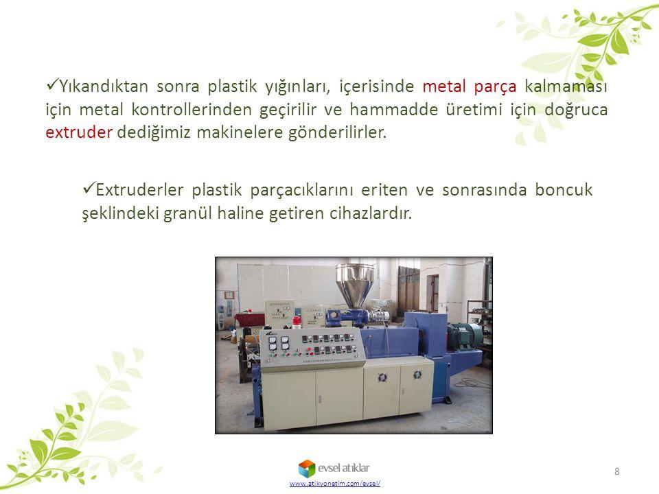 Burada granül şeklindeki geri kazanılmış plastik hammaddelerinden birçok yeni ürün elde edilir.