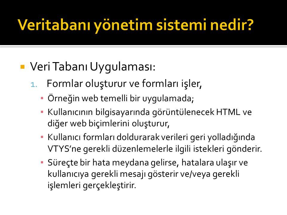  Veri Tabanı Uygulaması: 1. Formlar oluşturur ve formları işler, ▪ Örneğin web temelli bir uygulamada; ▪ Kullanıcının bilgisayarında görüntülenecek H