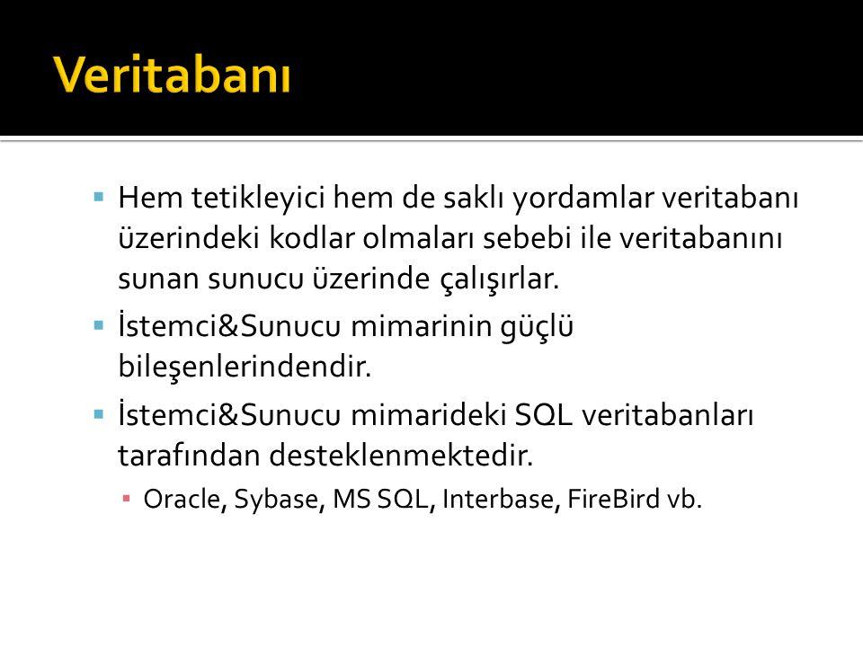  Hem tetikleyici hem de saklı yordamlar veritabanı üzerindeki kodlar olmaları sebebi ile veritabanını sunan sunucu üzerinde çalışırlar.  İstemci&Sun