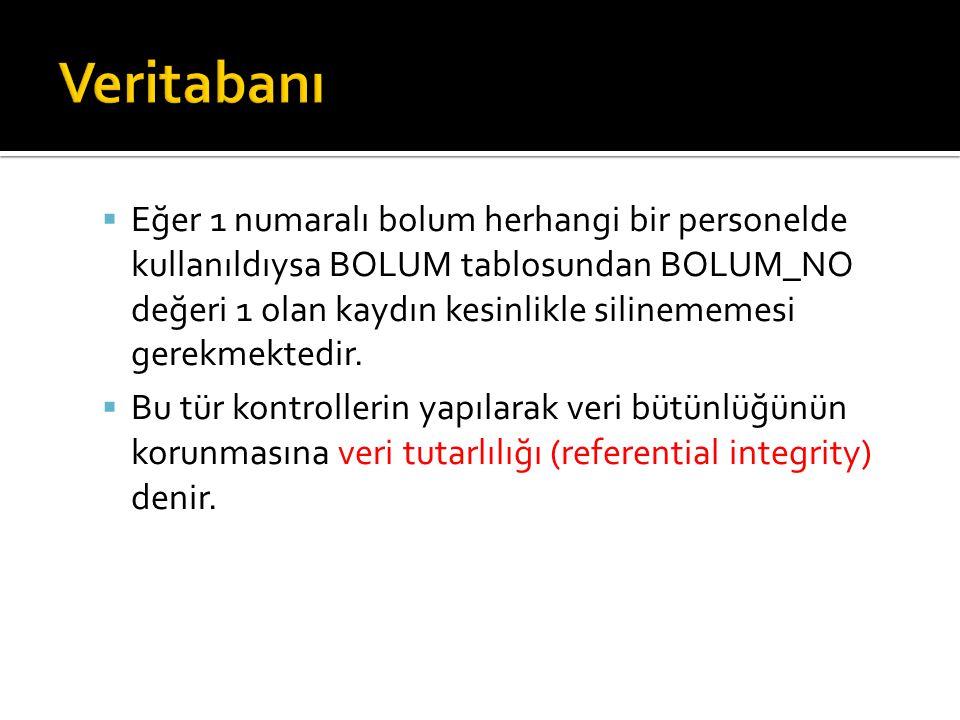  Eğer 1 numaralı bolum herhangi bir personelde kullanıldıysa BOLUM tablosundan BOLUM_NO değeri 1 olan kaydın kesinlikle silinememesi gerekmektedir. 