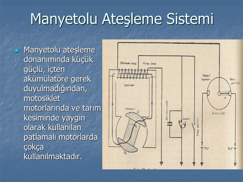 Manyetolu Ateşleme Sistemi Manyetolu ateşleme donanımında küçük güçlü, içten akümülatöre gerek duyulmadığından, motosiklet motorlarında ve tarım kesim