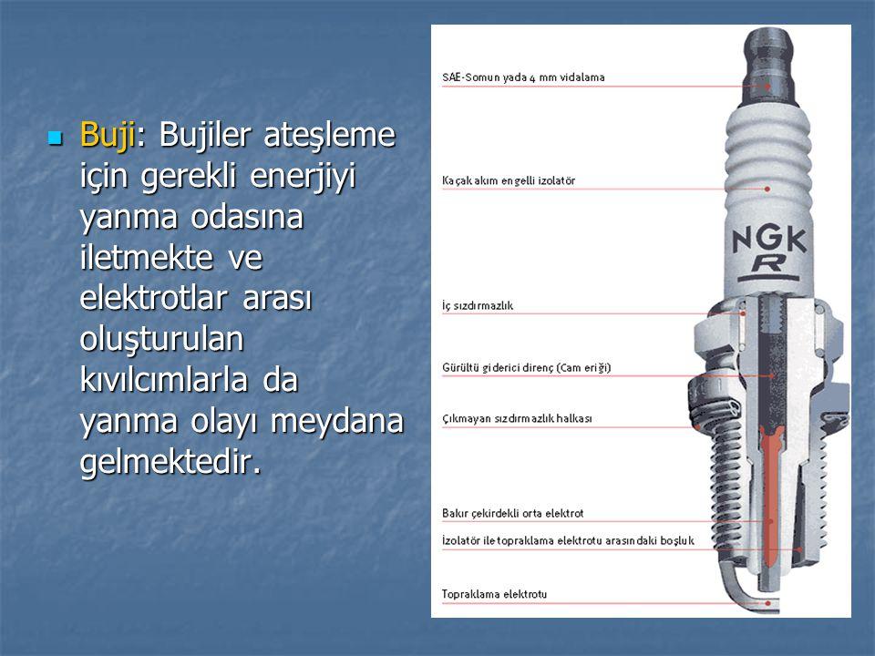 Buji: Bujiler ateşleme için gerekli enerjiyi yanma odasına iletmekte ve elektrotlar arası oluşturulan kıvılcımlarla da yanma olayı meydana gelmektedir