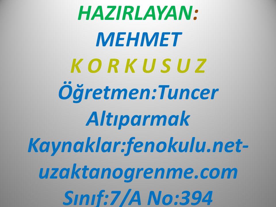 HAZIRLAYAN: MEHMET K O R K U S U Z Öğretmen:Tuncer Altıparmak Kaynaklar:fenokulu.net- uzaktanogrenme.com Sınıf:7/A No:394