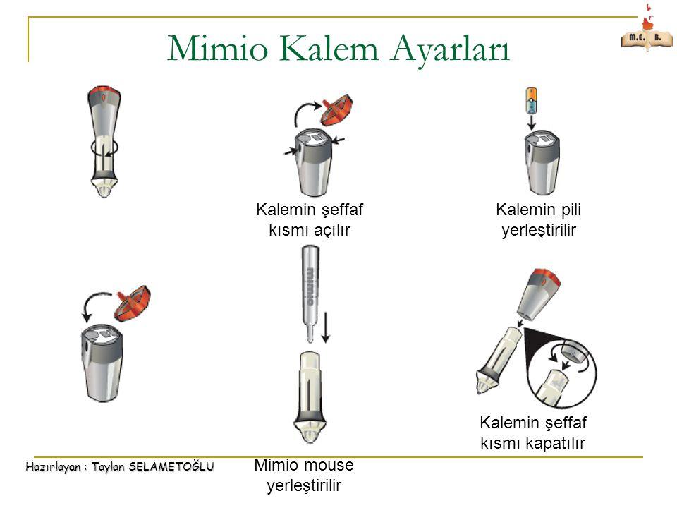 Hazırlayan : Taylan SELAMETOĞLU Mimio Kalem Ayarları Mimio mouse yerleştirilir Kalemin şeffaf kısmı açılır Kalemin pili yerleştirilir Kalemin şeffaf kısmı kapatılır