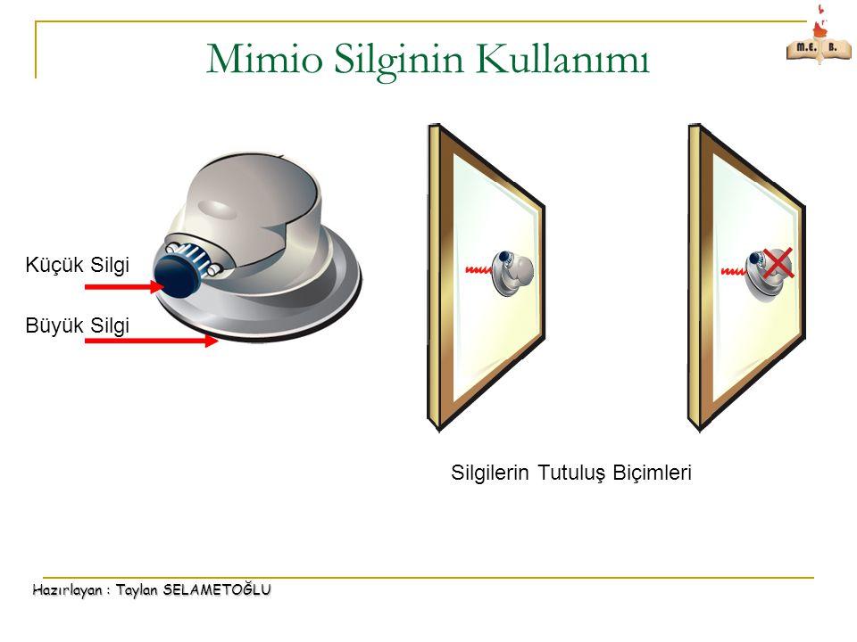 Hazırlayan : Taylan SELAMETOĞLU Mimio Silginin Kullanımı Küçük Silgi Büyük Silgi Silgilerin Tutuluş Biçimleri