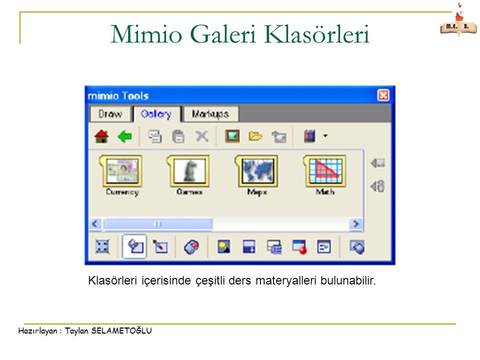 Hazırlayan : Taylan SELAMETOĞLU Mimio Galeri Klasörleri Klasörleri içerisinde çeşitli ders materyalleri bulunabilir.
