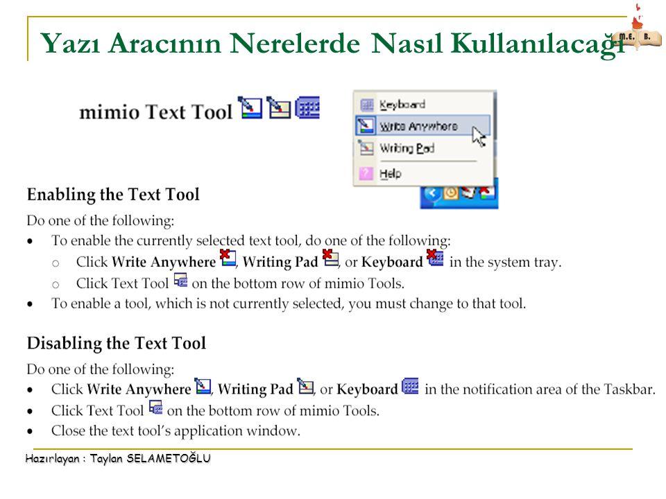 Hazırlayan : Taylan SELAMETOĞLU Yazı Aracının Nerelerde Nasıl Kullanılacağı