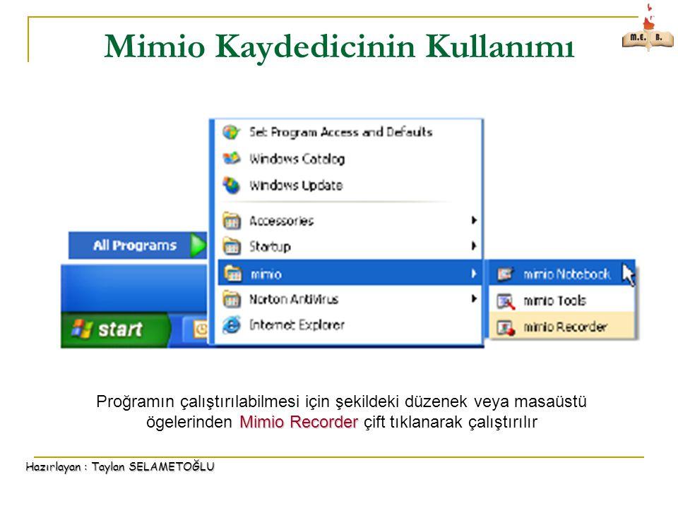 Hazırlayan : Taylan SELAMETOĞLU Mimio Kaydedicinin Kullanımı Mimio Recorder Proğramın çalıştırılabilmesi için şekildeki düzenek veya masaüstü ögelerinden Mimio Recorder çift tıklanarak çalıştırılır