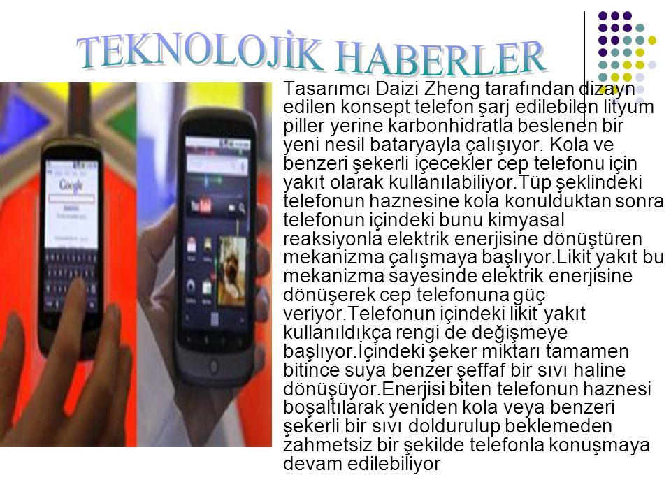 Tasarımcı Daizi Zheng tarafından dizayn edilen konsept telefon şarj edilebilen lityum piller yerine karbonhidratla beslenen bir yeni nesil bataryayla
